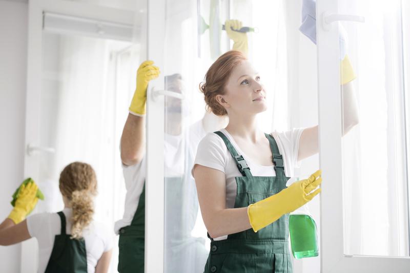 Cleaners washing windows